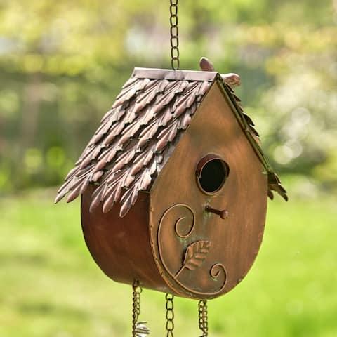 "Antique Copper Hanging Birdhouse Wind Chime ""Farm House"""