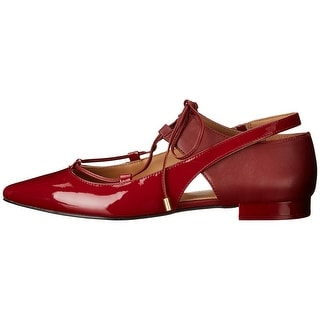 Calvin Klein Womens Evalyn Closed Toe Ankle Wrap Ballet Flats, GARNET, Size 5.5