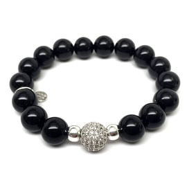 Black Onyx 'Radiance' stretch bracelet 14k Over Sterling Silver