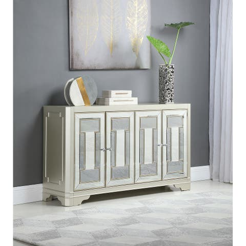 Adriane Smoke and Champagne 4-door Accent Cabinet