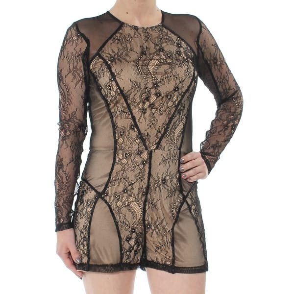 8d0dabf54 Shop GUESS Womens Black Lace Long Sleeve Romper Size: XS - Free ...