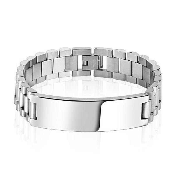 Large Stainless Steel ID Bracelet. (15 mm) - 8.5 in