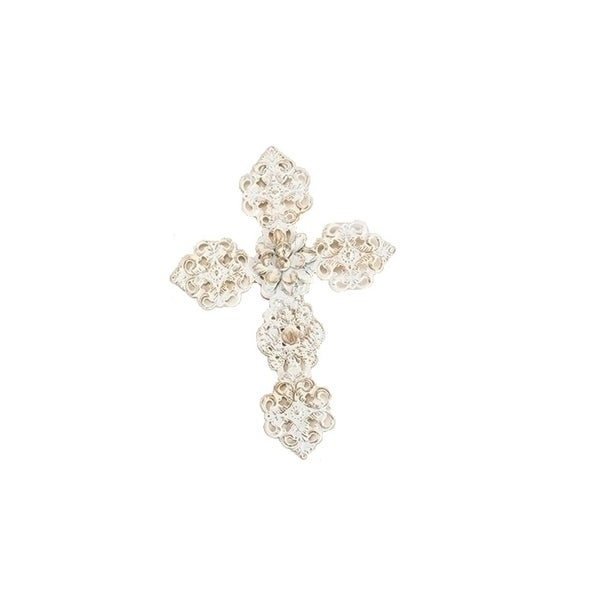 """5.25"""" White and Gold Metal Filigree Religious Cross Christmas Ornament"""