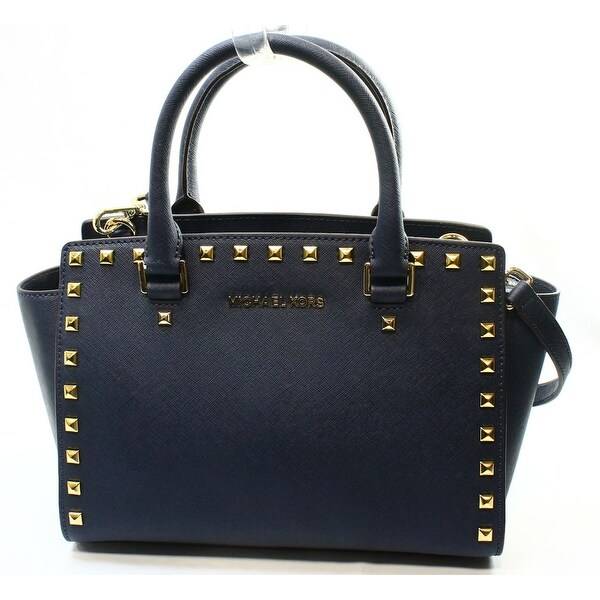 d0e1b75f0743 Shop Michael Kors NEW Blue Navy Saffiano Selma Studded Satchel Bag ...