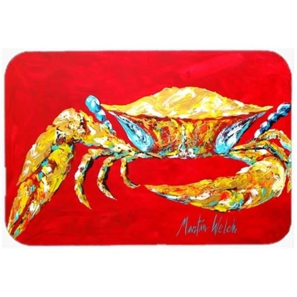Carolines Treasures MW1116CMT 20 x 30 in. Crab Blue on Red Sr. Kitchen Or Bath Mat