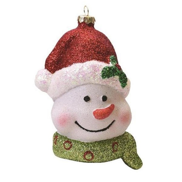 "5"" Merry & Bright Whimsical Snowman Head with Santa Claus Hat Shatterproof Christmas Ornament - WHITE"
