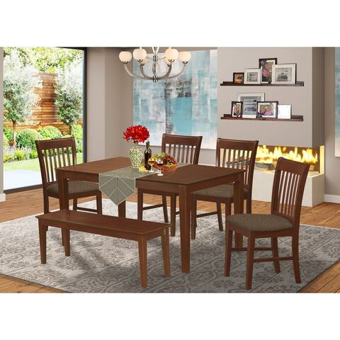 6-Piece Dining Set with Table, Four Chairs and a Dining Bench in Mahogany Finish