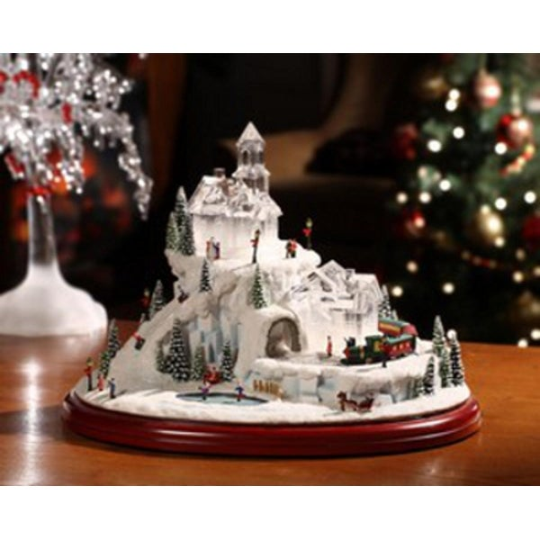 """Pack of 2 Icy Crystal Animated Musical Train and Sled Village Figurines 8.5"""""""