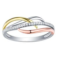 Prism Jewel 0.80MM 0.09CT G-H/I1 Natural Diamond Tri-Color Gold Twisted Ring - White G-H