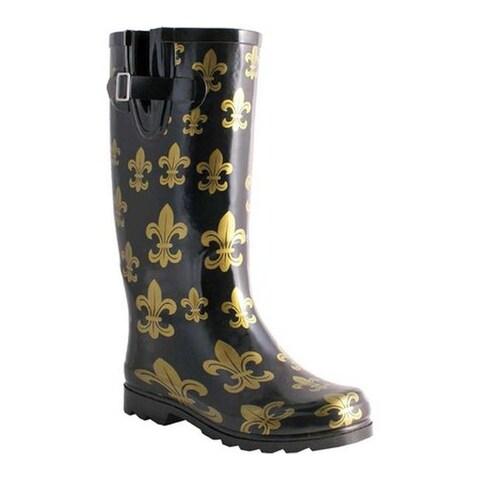 Nomad Women's Two Classic Rain Boot Black/Gold Fleur De Lis