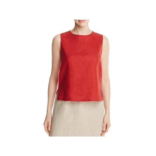 Eileen Fisher Womens Petites Tank Top Organic Linen Round Neck