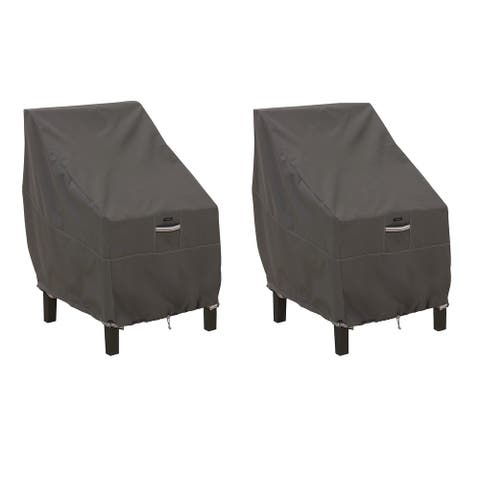 Classic Accessories Ravenna Water-Resistant 25.5 Inch Patio Chair Cover, 2 Pack