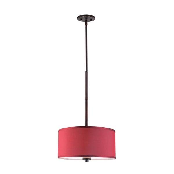 "Woodbridge Lighting 13420MEB-S11503 35"" Height 3 Light Drum Pendant with Maroon Shade and Metallic Bronze Finish"