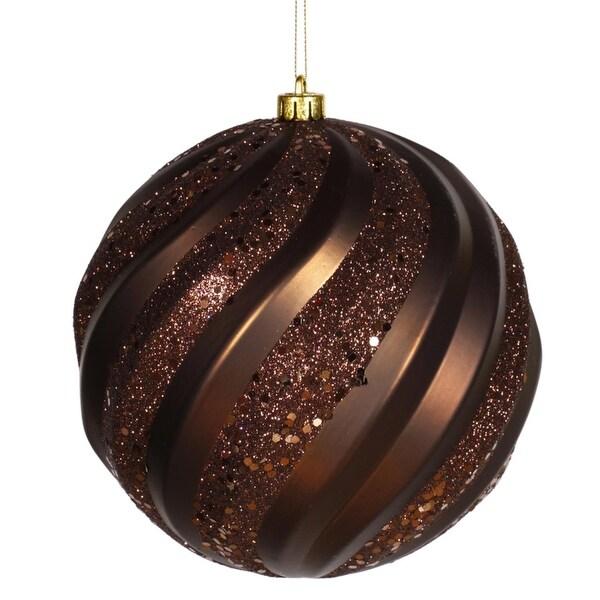 "Chocolate Brown Glitter Swirl Shatterproof Christmas Ball Ornament 6"" (150mm)"