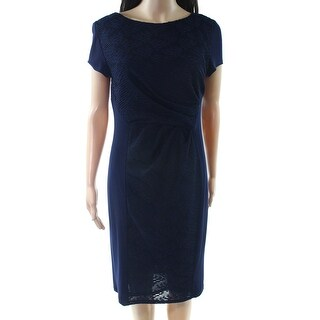 Phase Eight NEW Blue Womens Size 16 Stretch Boat-Neck Sheath Dress