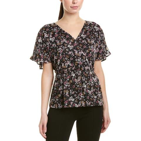 CeCe Black Womens Size Large L Sheer Floral Print V-Neck Blouse