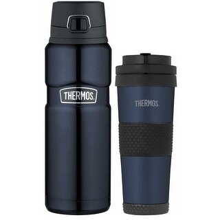 Thermos Insulated Stainless Steel Tumbler & Drink Bottle (24 oz / 18 oz, Blue)