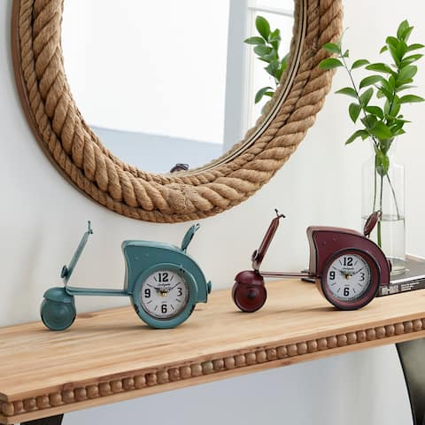 Red Iron Country Cottage Clock (Set of 2) - 13 x 3 x 8