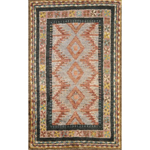 """Geometric Contemporary Oriental Area Rug Hand-knotted Foyer Carpet - 4'10"""" x 7'8"""""""