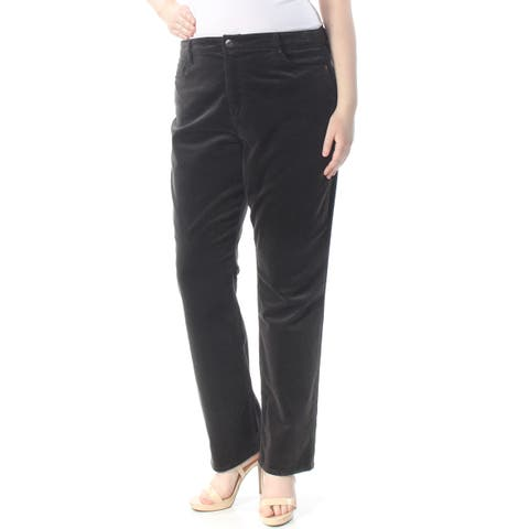 RALPH LAUREN Womens Brown Corduroy Straight leg Jeans Plus Size: 18