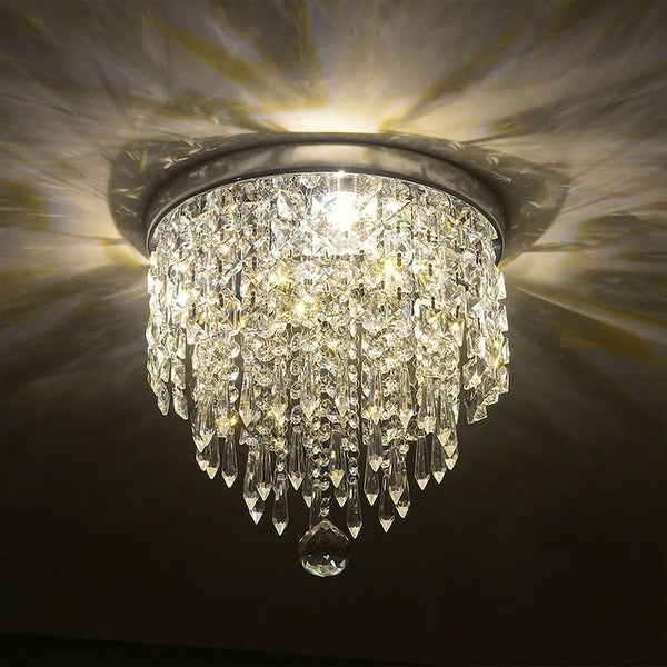 CO-Z 3-Light Mini Crystal Chandelier with Raindrop Crystals