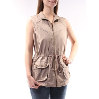 Womens Brown Sleeveless Open Vest Top Size 8
