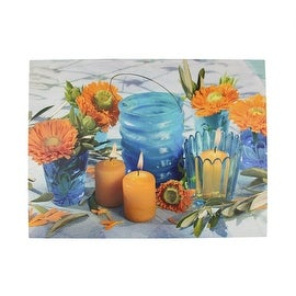 """LED Lighted Flickering Candles and Flowers Glass Candles Canvas Wall Art 12"""" x 15.75"""""""