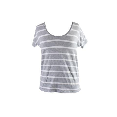 Vince Camuto Grey Striped High-Low T-Shirt XXS