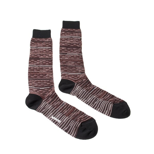 Missoni GM00CMU5245 0004 Burgundy/Black Knee Length Socks - M