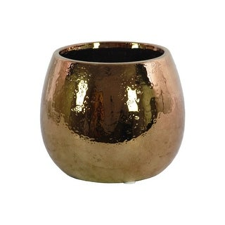 Ceramic Round Vase With Hammered Pattern, Copper