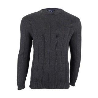 John Ashford Men's Crew-Neck Striped-Texture Sweater - M