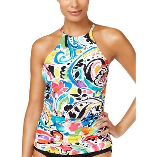 Anne Cole Womens Paisley High Neck One-Piece Swimsuit