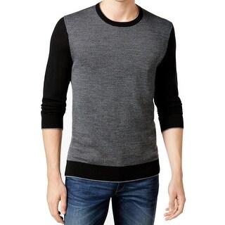 Michael Kors NEW Black Mens Large L Herringbone Crewneck Wool Sweater