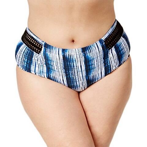 Raisins Plus Women's Size High-Waist Crochet-Trim Bikini Bottoms, Multi, 22W