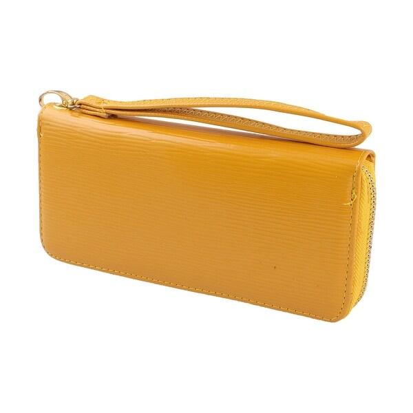 Ladies Faux Leather Rectangular Shape Zipper Closure Purse Wallet Holder Yellow