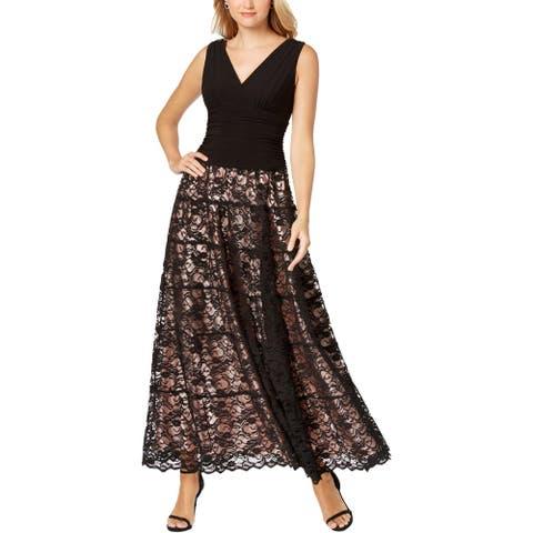 SLNY Womens Evening Dress Lace Sleeveless - Black/Blush