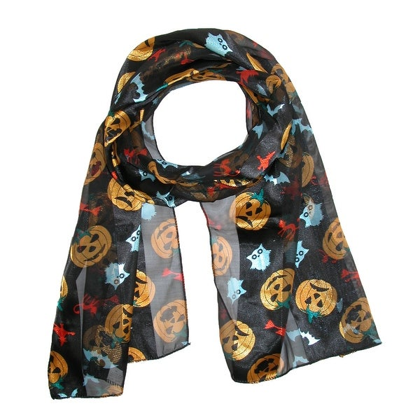 CTM® Women's Halloween Pumpkin Scarf - One size