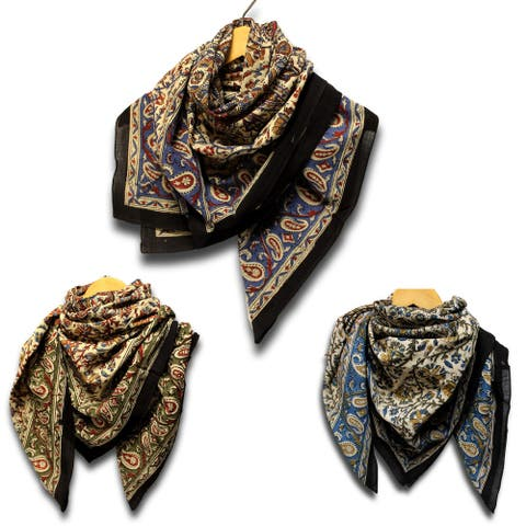 Cotton Scarfs for Women Light Soft Sheer Neck Scarf Head Scarf Block Print Kalamkari Floral Paisley Summer Scarf Blue Green Red