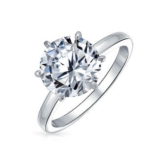 Bling Jewelry Silver Plated Brass 3.5ct CZ Solitaire Bridal Engagement Ring
