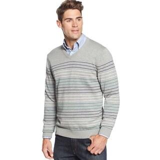 Club Room Cotton Striped V-Neck Sweater Light Grey Heather X-Large