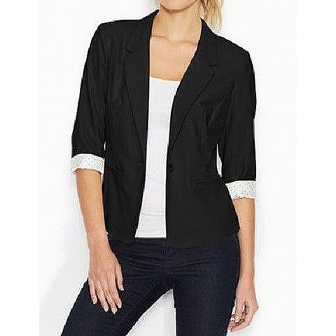 Kensie Women's Blazer Black Size Small S Notched-Lapel One-Button