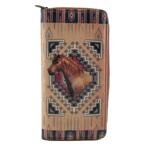 Mlavi Women's Western Horse Print Zip-Around Wallet - One size