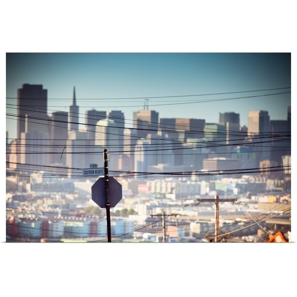 """Power line with skyscrapers, Potrero Hill, San Francisco"" Poster Print"
