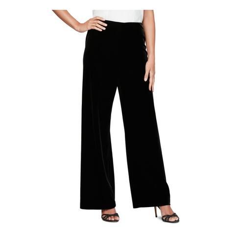 ALEX EVENINGS Womens Black Velvet Pants Size PS