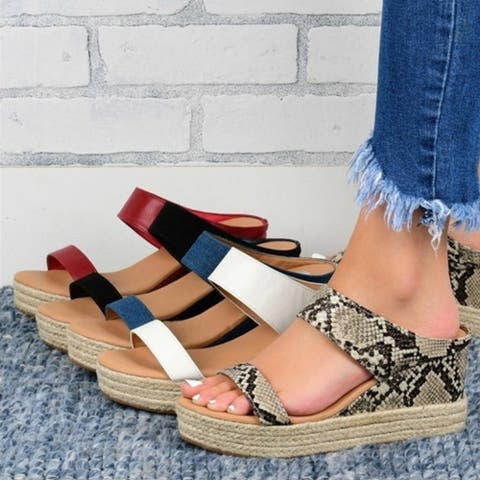 Women's Slope-Heel Hollow Platform Non-Slip Sandals