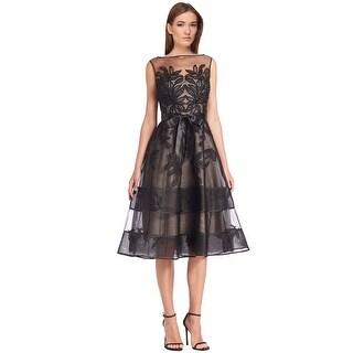 Teri Jon Lace Illusion Beaded Applique Cocktail Evening Dress Black