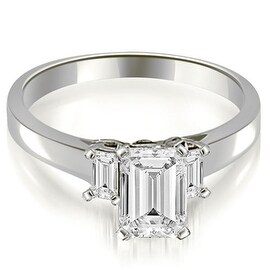 1.15 cttw. 14K White Gold Emerald Cut Three Stone Diamond Engagement Ring HI, SI1-2