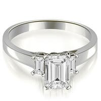 1.40 cttw. 14K White Gold Emerald Cut Three Stone Diamond Engagement Ring