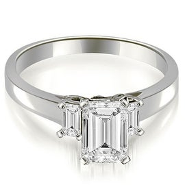 1.65 cttw. 14K White Gold Emerald Cut Three Stone Diamond Engagement Ring