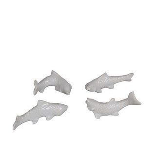 7.5 x 2.5 x 4 in. Ceramic Fish Statue, White - Piece of 4